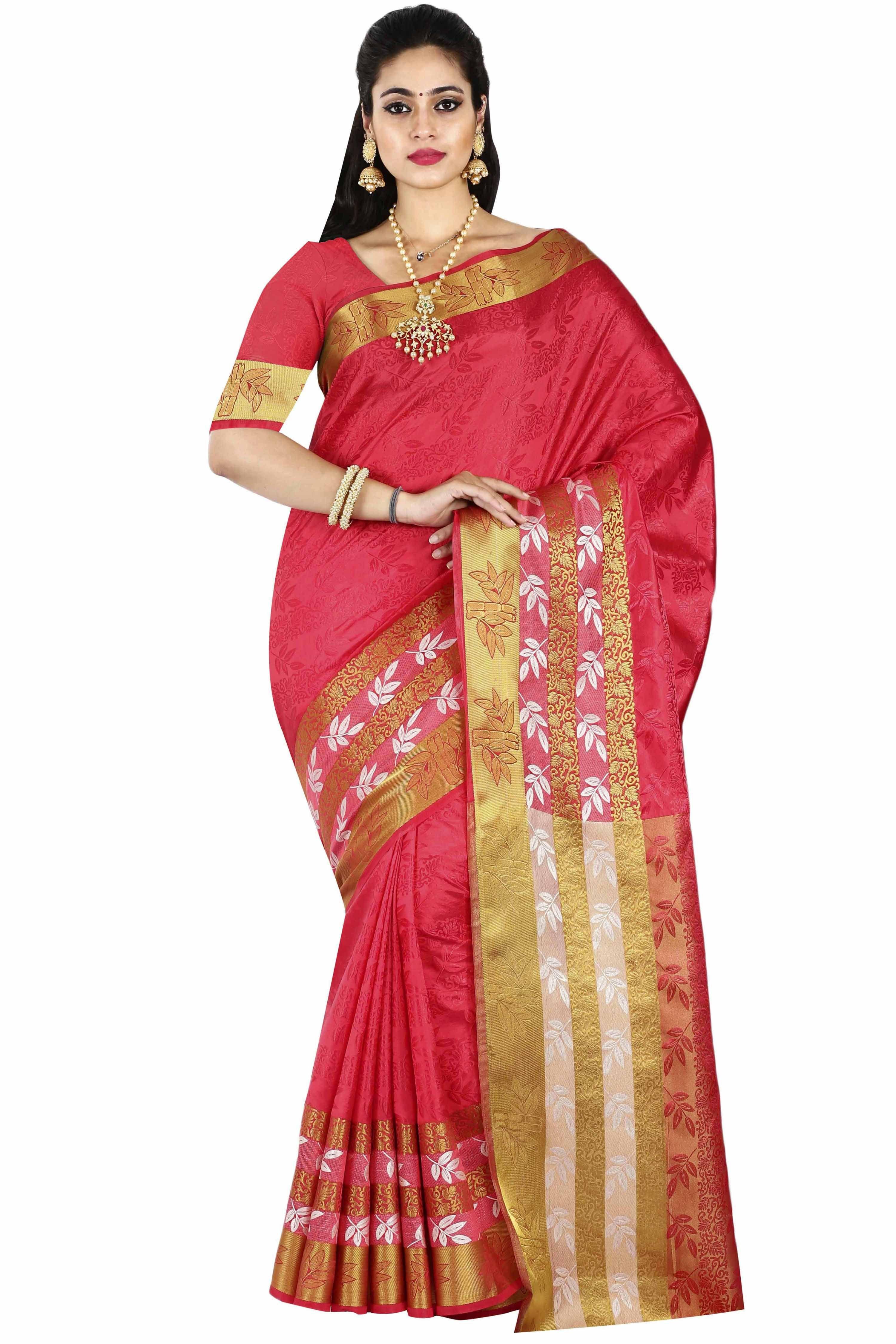 arars Pink Silk Blends Saree