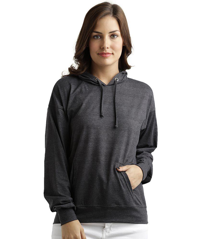 Miss Chase Cotton Grey Hooded Sweatshirt