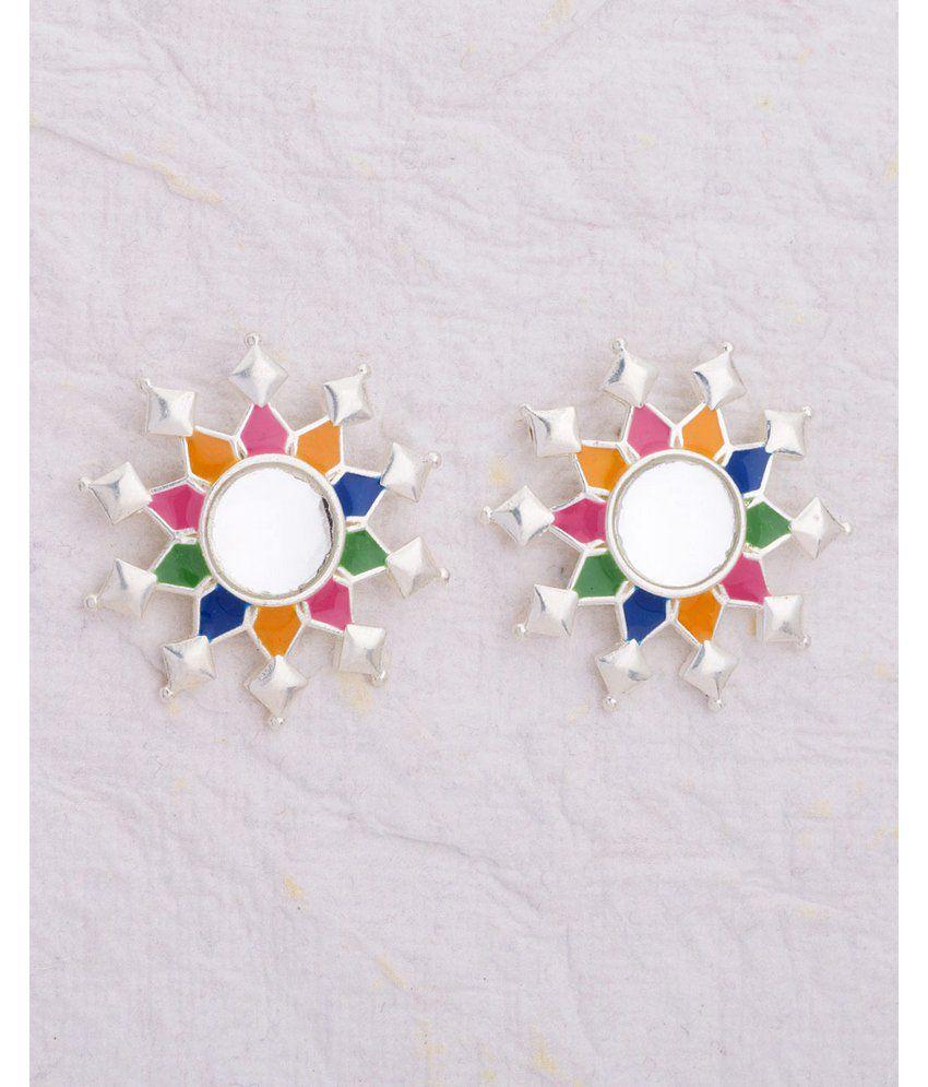 Floral Colourful Enamel Embellished Stud Earrings