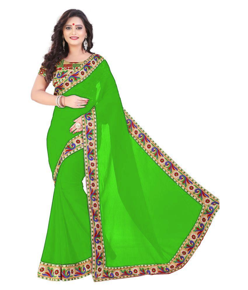 Fragrance Trendz Green Chiffon Saree