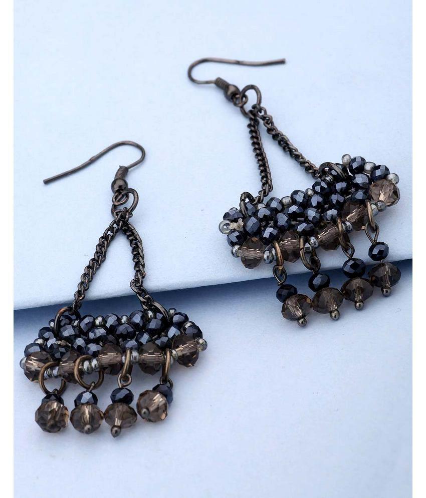 Voylla Black Beaded Designer Dangler Earrings