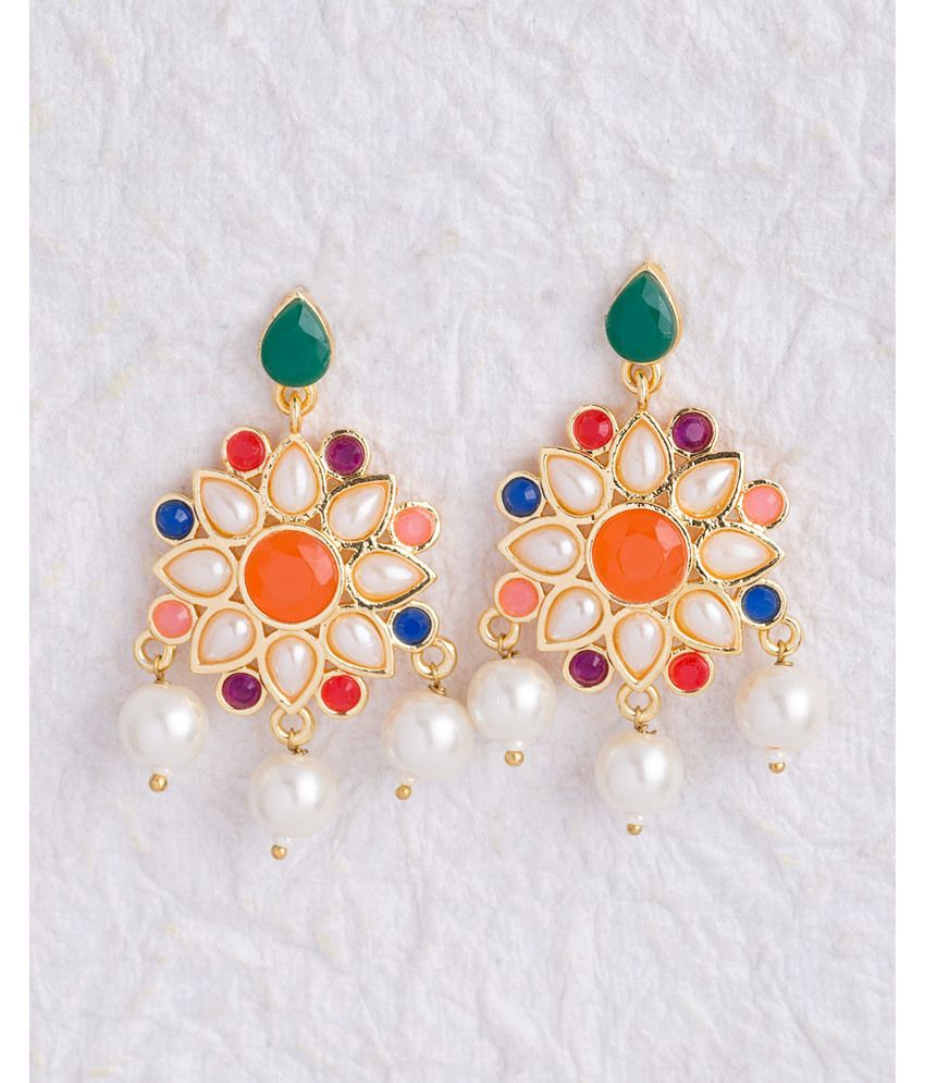 Voylla Colorful Floral Earrings with Pearl Drops
