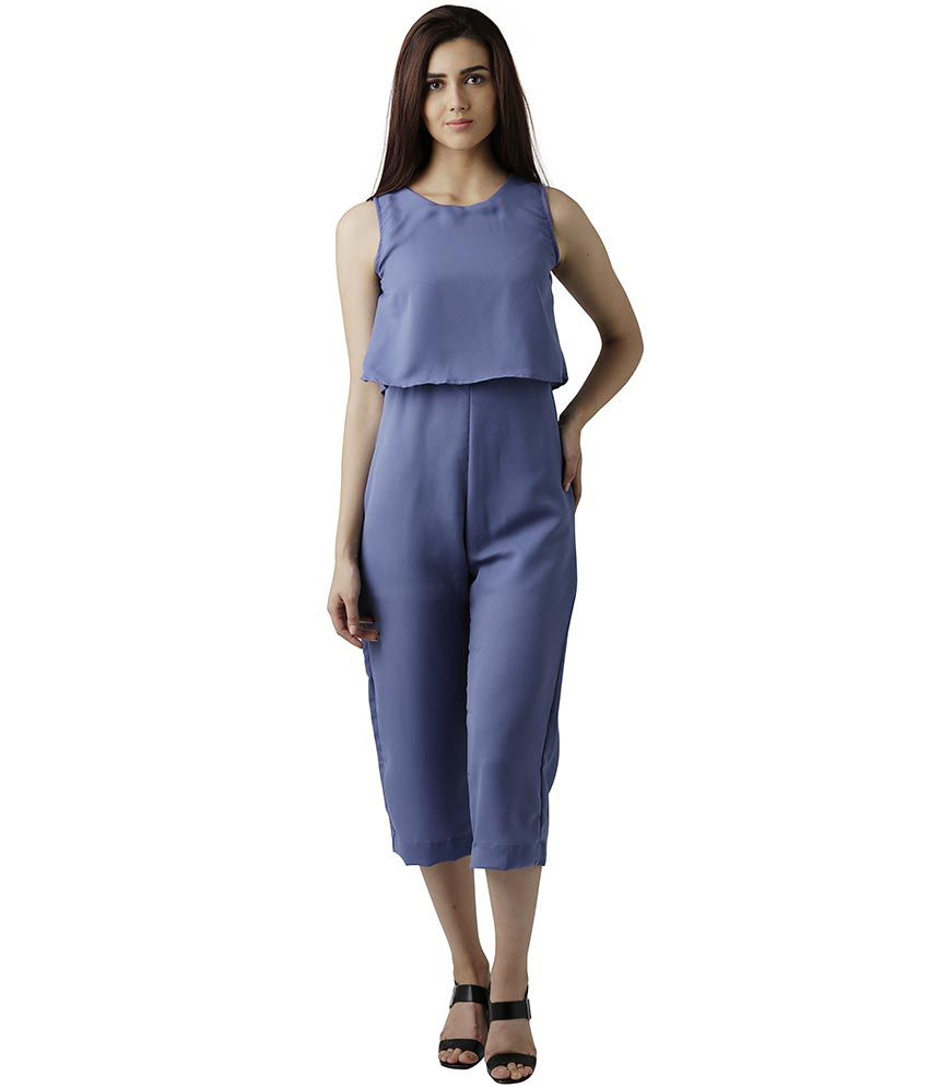 Miss Chase Crepe Blue Jumpsuits