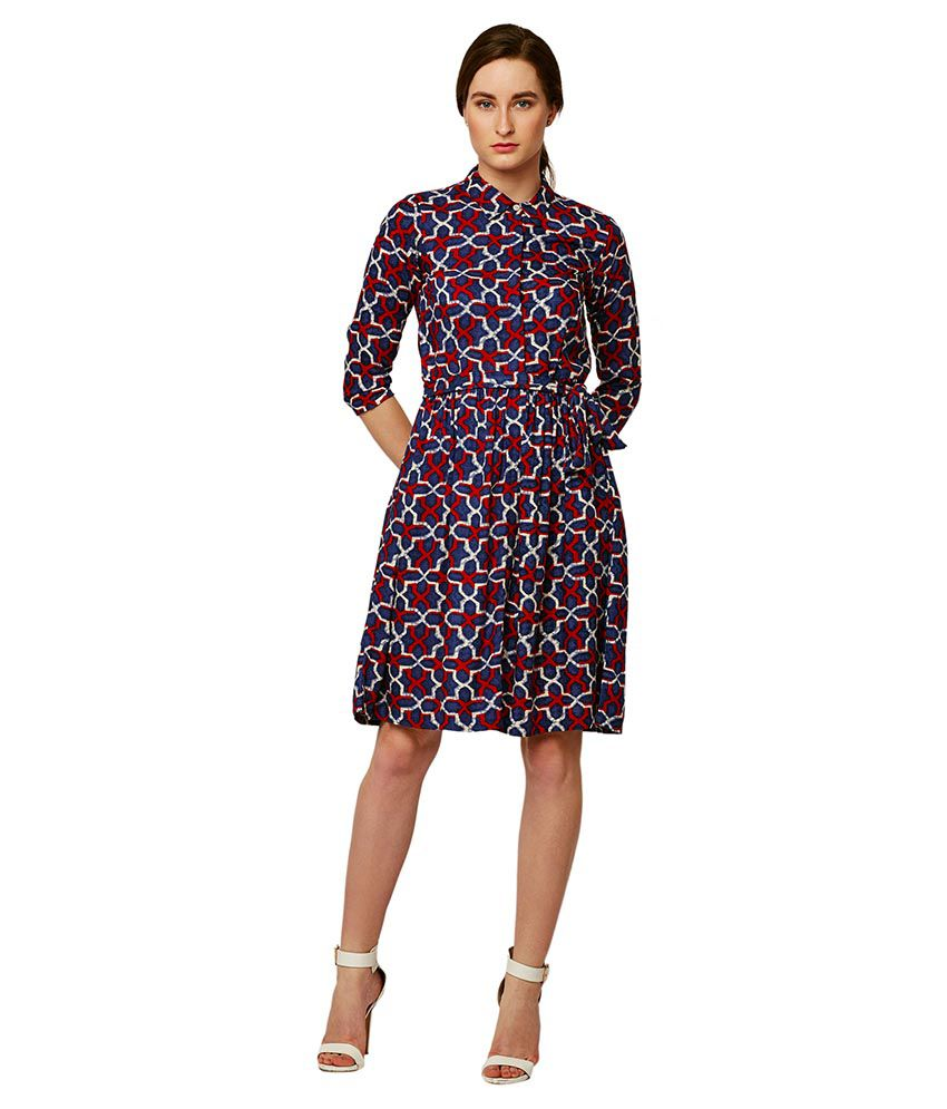 Miss Chase Rayon Multi Color Skater Dress