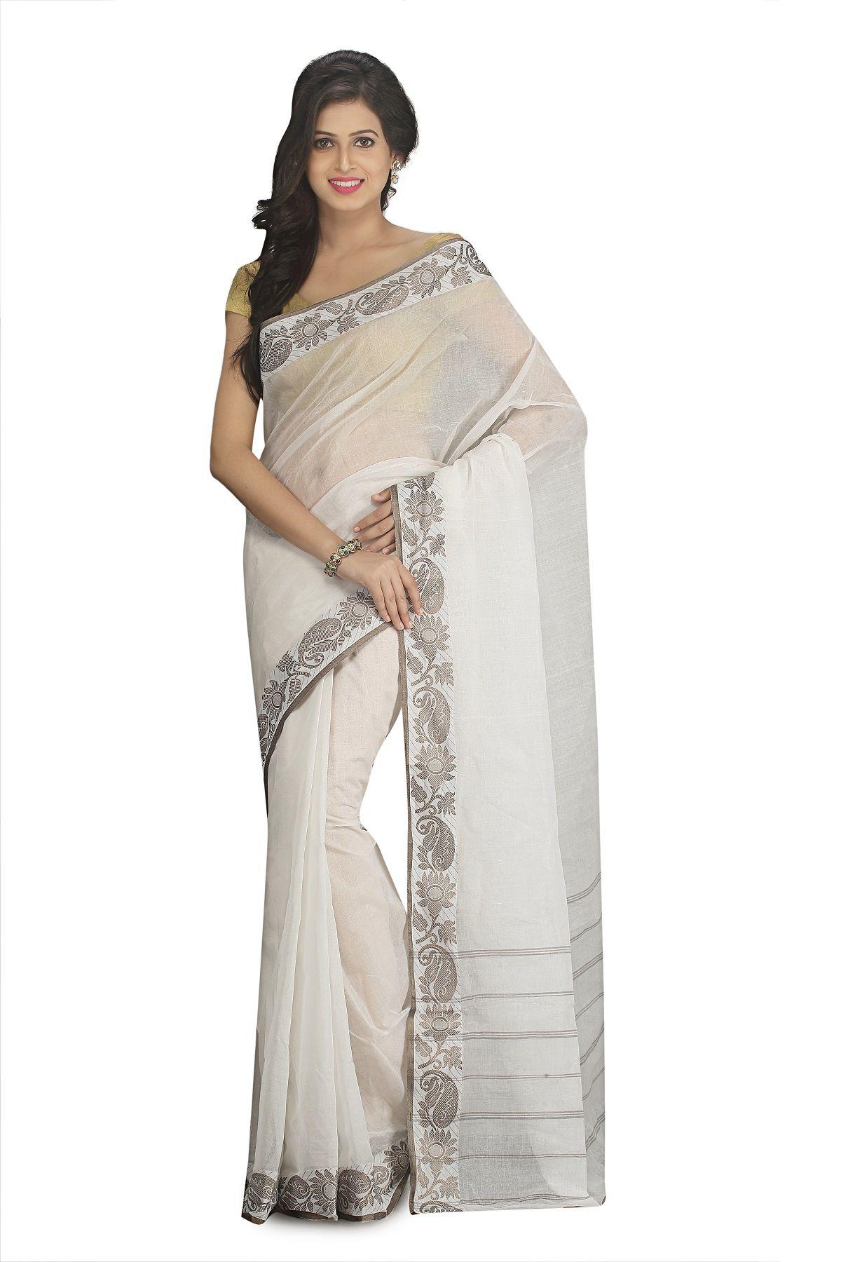 Fablum White and Grey Bengal cotton Saree