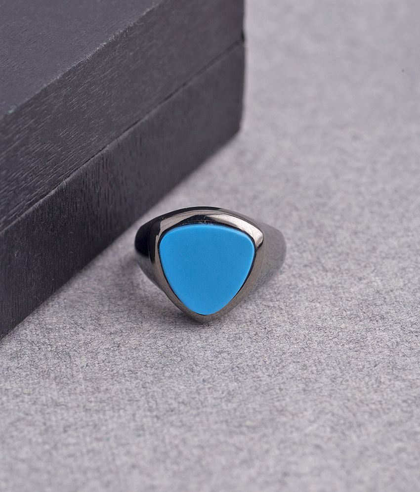Dare Turquoise Stone Studded Milestone Band Ring for men