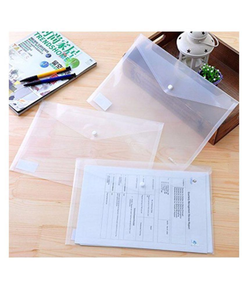 3 Folder Pack A4 Document File Bag, Transparent Envelope Holder Storage Case, Snap Button Organizer, My Clear Plastic