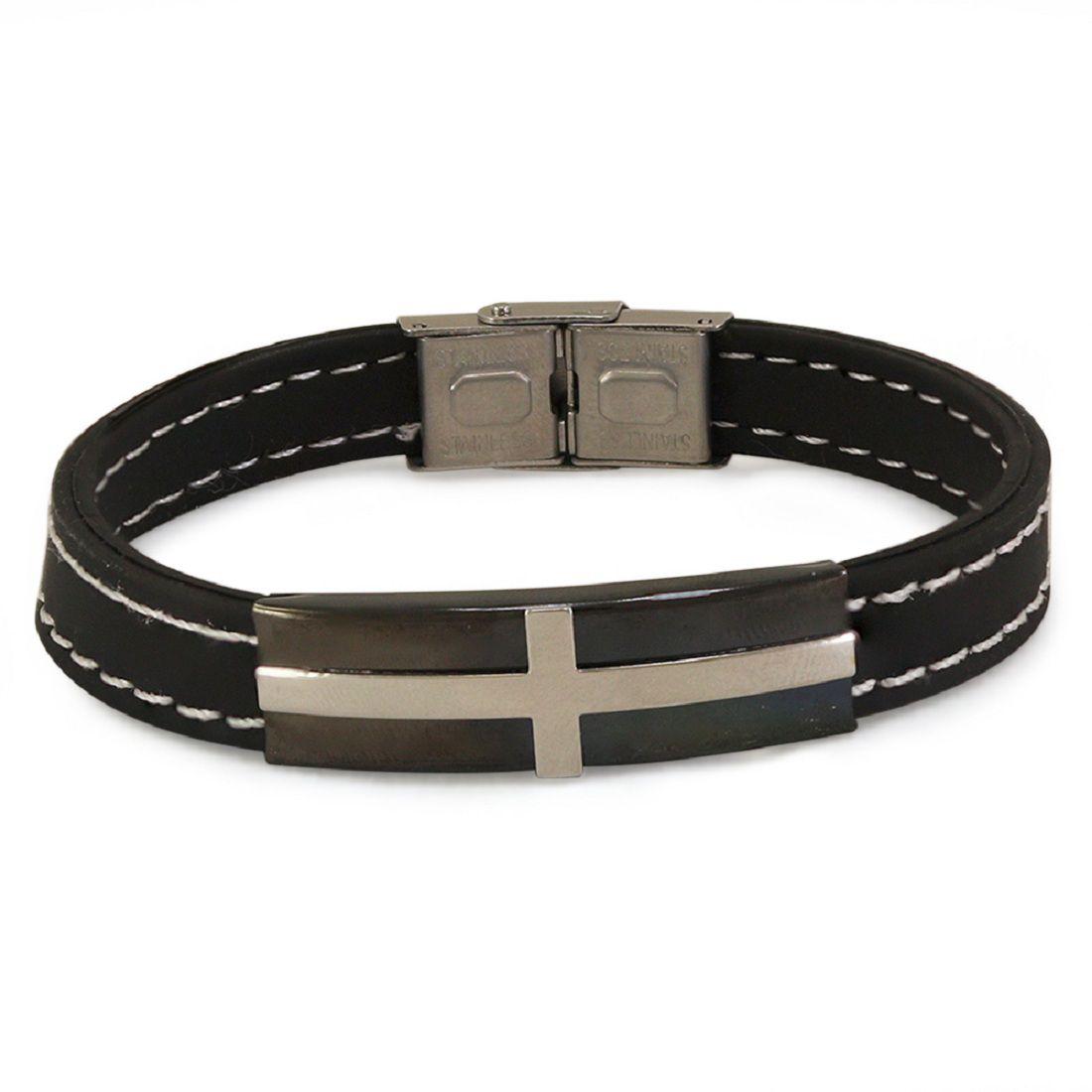 Diva Men Cross Design Black Colour Silicone Bracelet