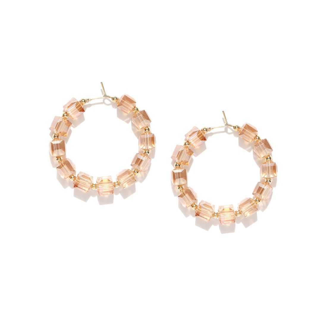 Jewels Galaxy Exquisite Design Lovely Crystals Gold Plated Contemporary Green Circular Earrings For Women/Girls