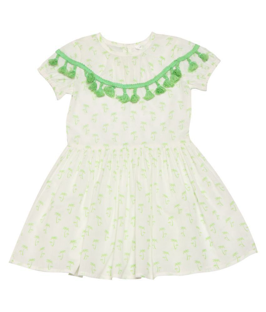 Nino Bambino 100% Pure Organic Cotton Round Green Lace Neckline Floral Skater Multicolor Baby Girls Tunic With Back Zipper