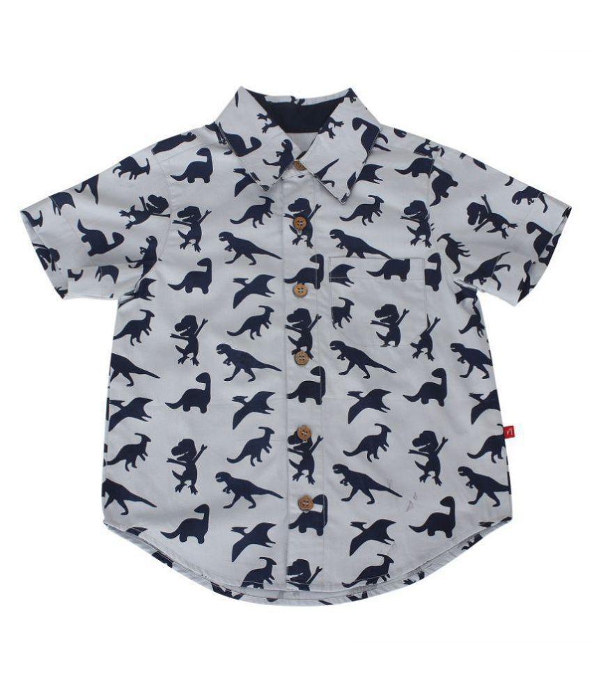 Nino Bambino 100% Pure Organic Cotton Regular Collar Button Down Closure Short Sleeve Dinosaur Printed Grey Shirt For Baby Boys With Front Pocket