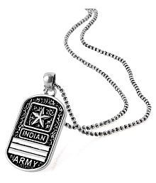 Dare Indian Army Oxidized Silver Plated Pendant from Squad for men