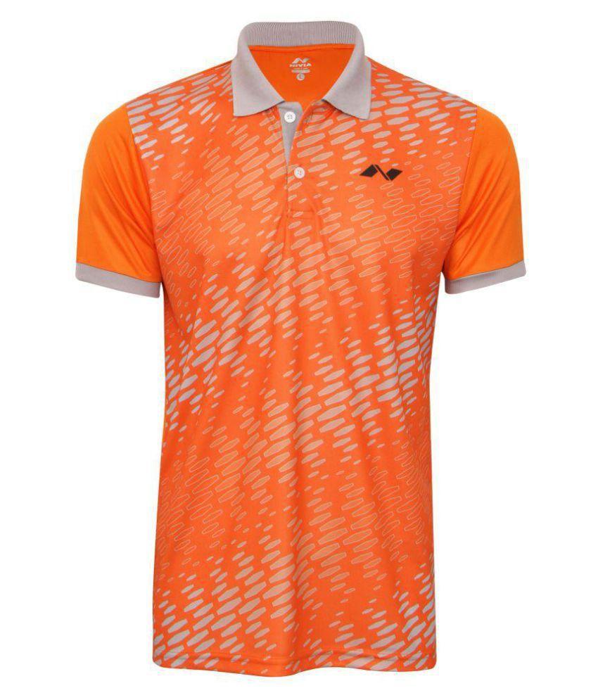 Nivia Orange Polyester Polo T-Shirt-2354M5