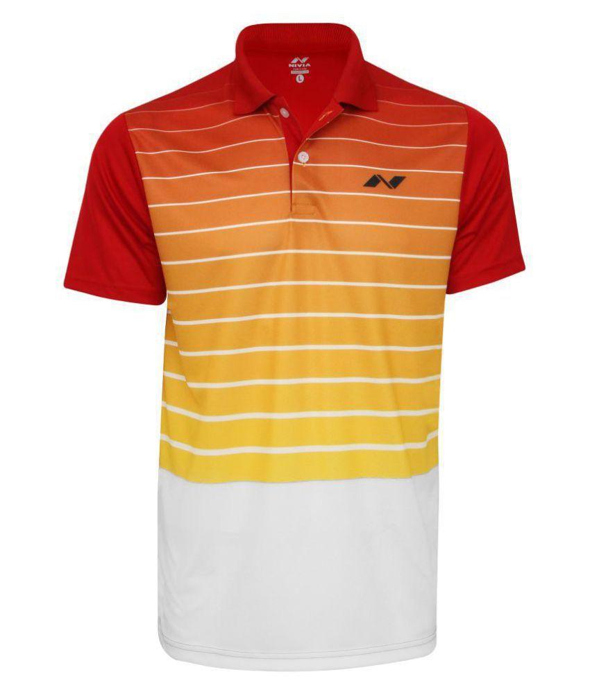 Nivia Red Polyester Polo T-Shirt-2355XL3