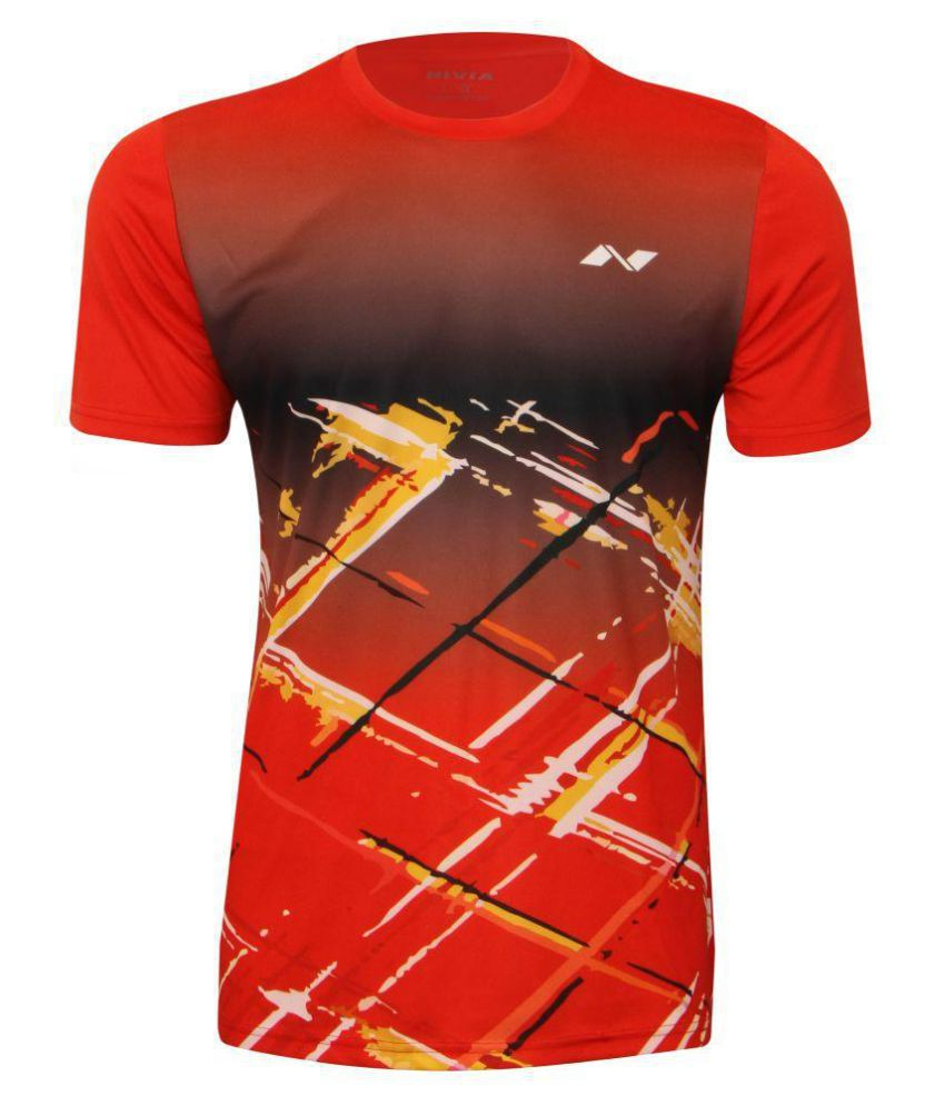 Nivia Red Polyester T-Shirt-2353M5