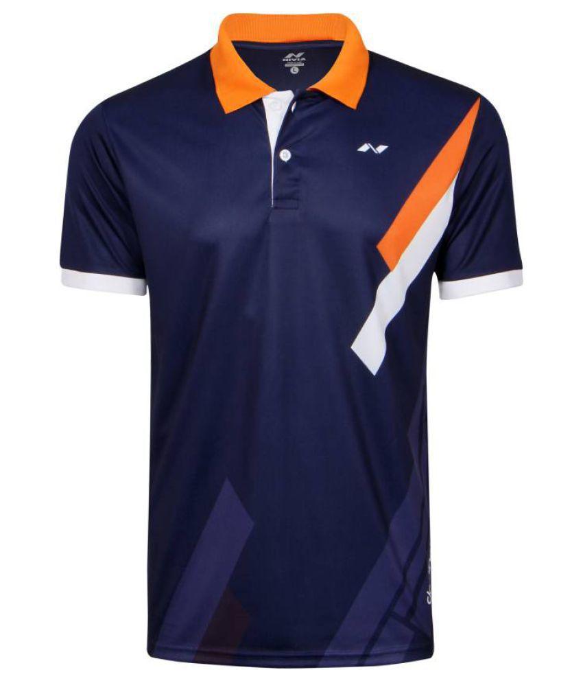 Nivia Blue Polyester Polo T-Shirt-2556xl3