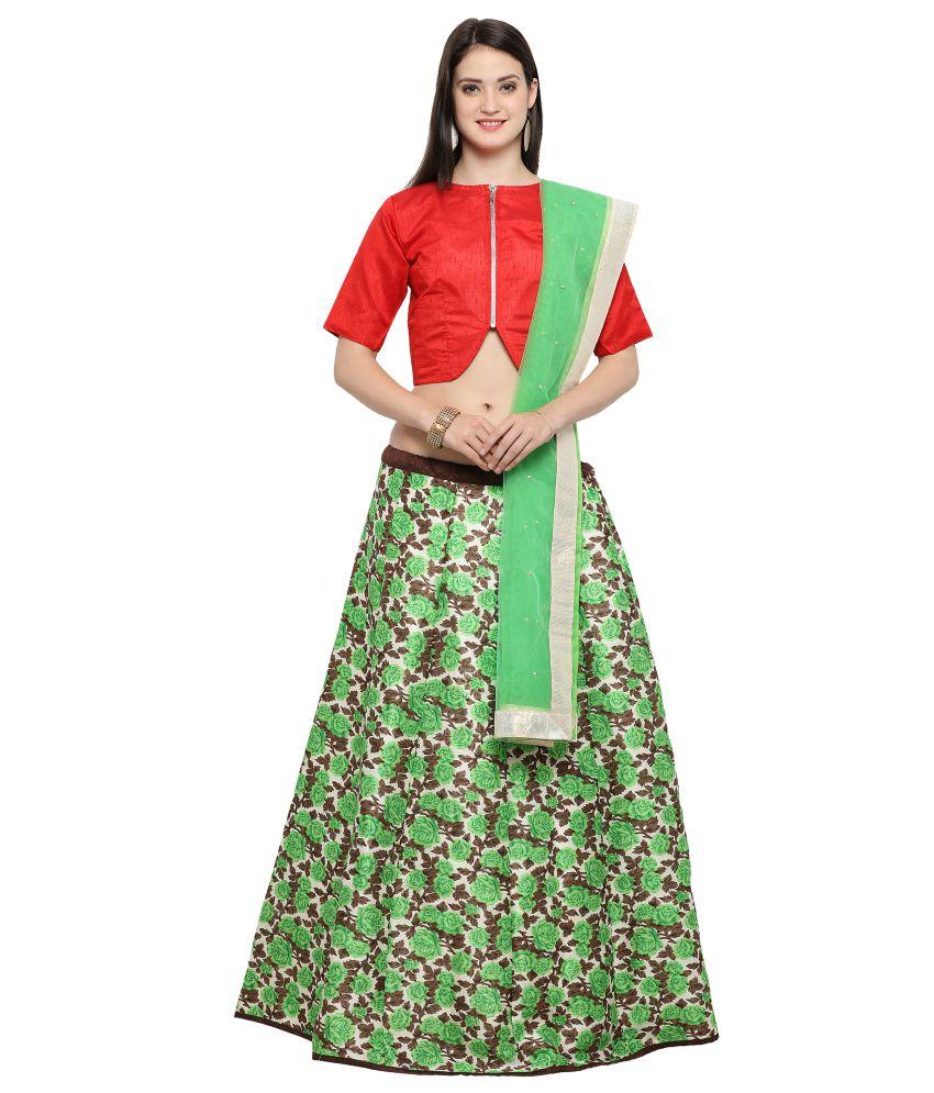 Triveni Red Art Silk Circular Semi Stitched Lehenga