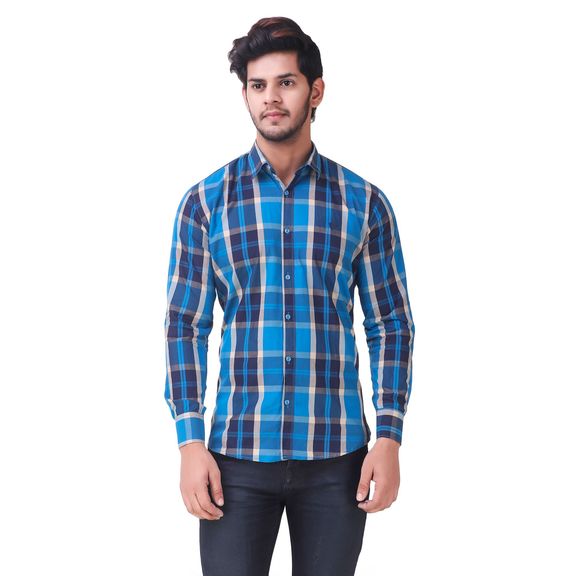 WOLGUN Blue Regular Fit Shirt Single