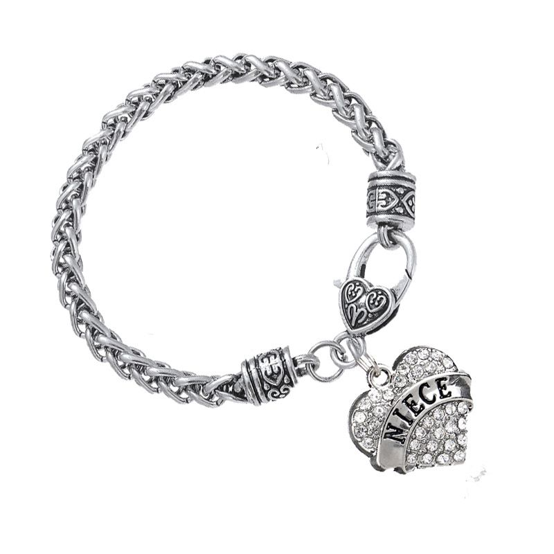 Fashion Women  Hollow Flower Heart Crystal Wedding Engagement gift Chain Bracelet Brangle Wristband Jewelry Accessories