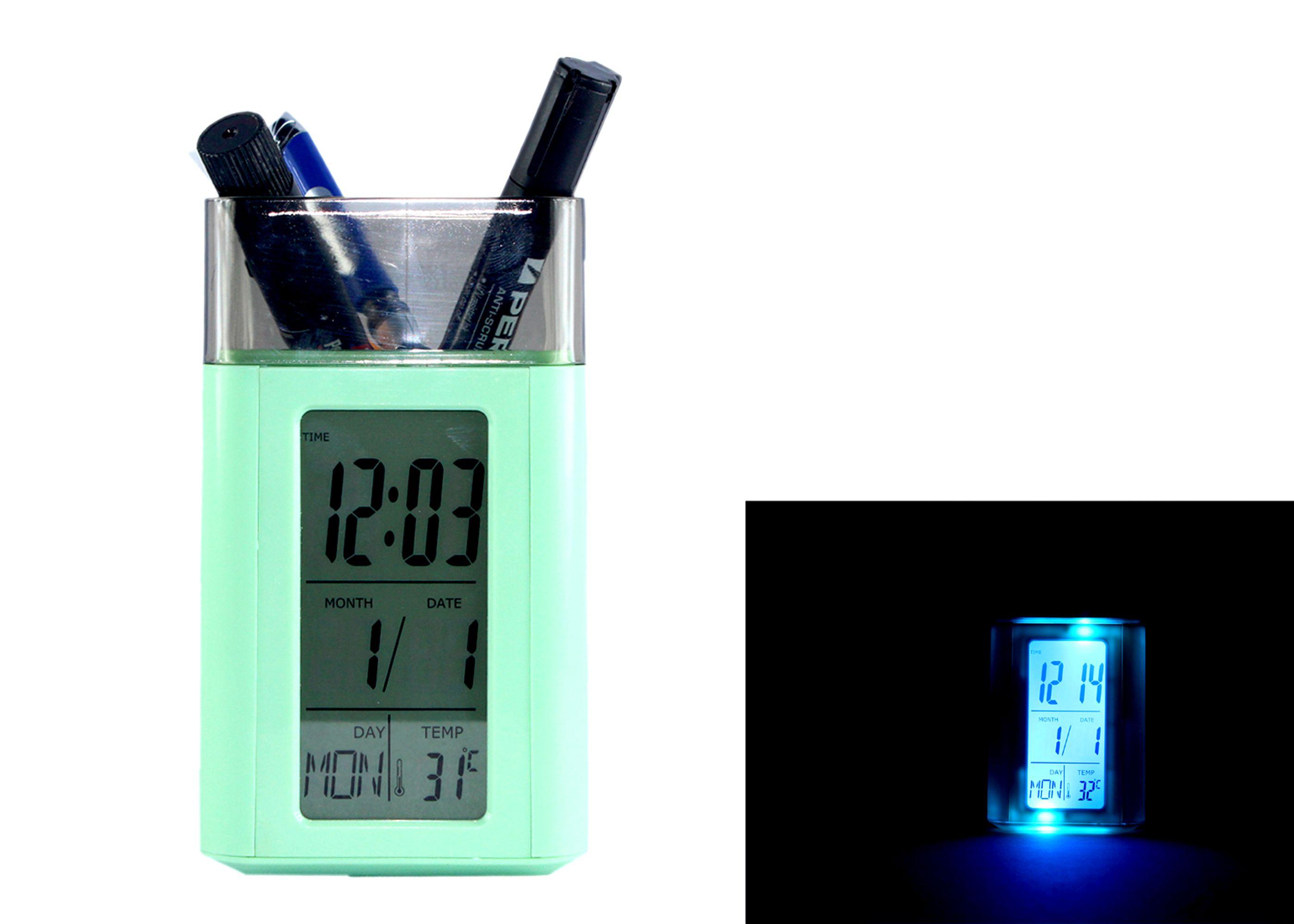 PE Digital Voice Control Pen Holder Led Alarm Clock - Pack