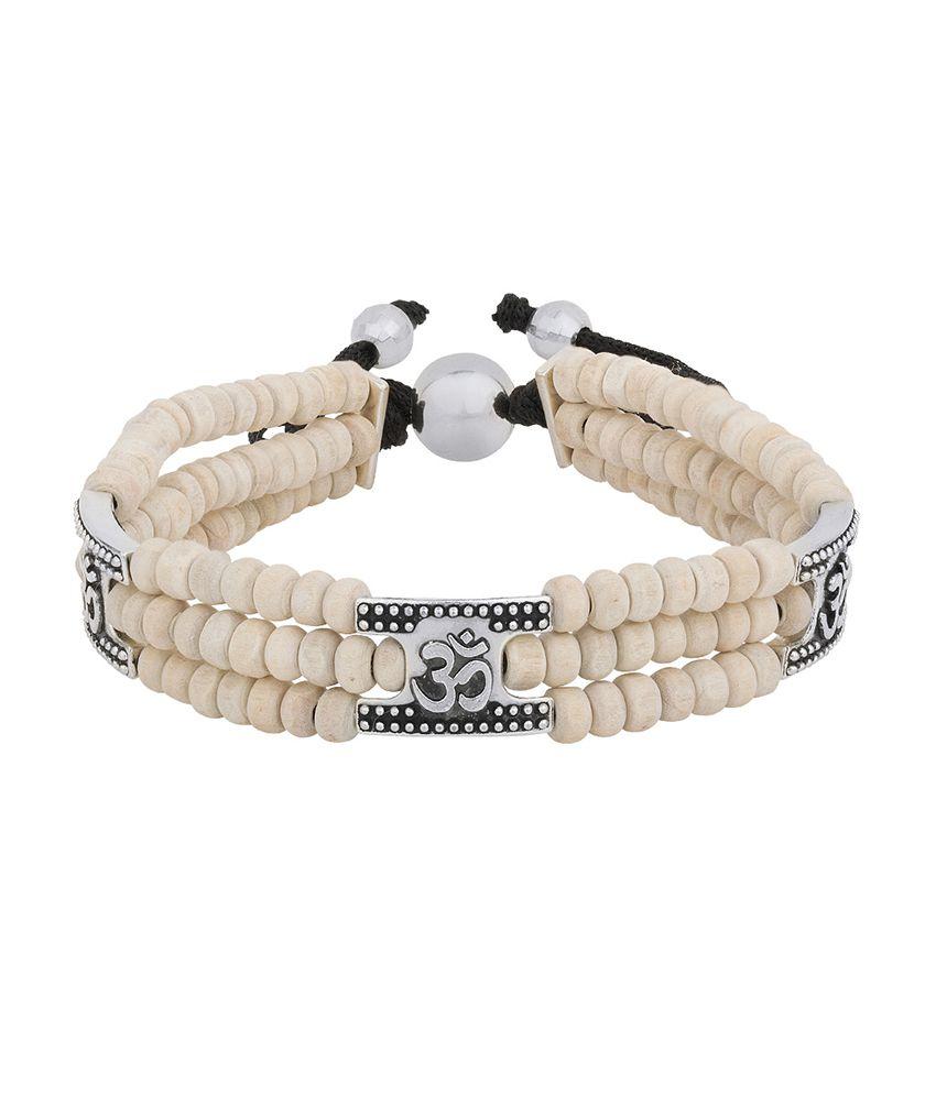 Dare Oxidized Silver OM Charm Tulsi Beaded Mahadev Bracelet for men