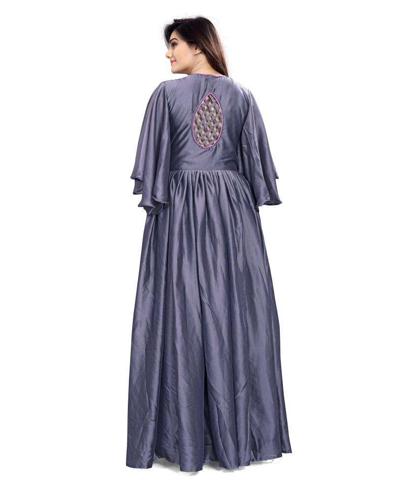 ... ARSH IMPEX Grey Color Towel Embroidery Work Silk Gown ... 25d97d389