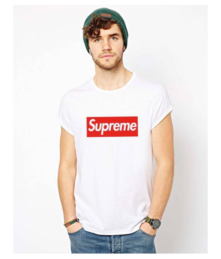 SUPREME White Round T-Shirt