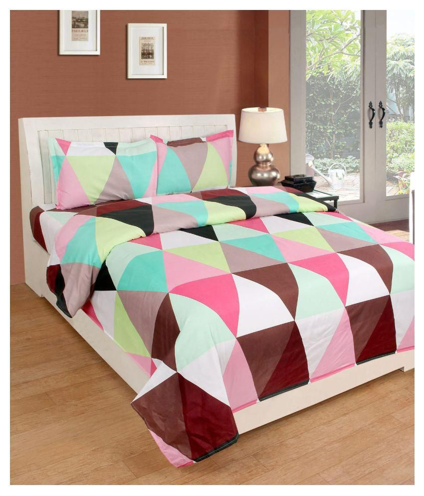 SHOPICTED Cotton Double Bedsheet with 2 Pillow Covers