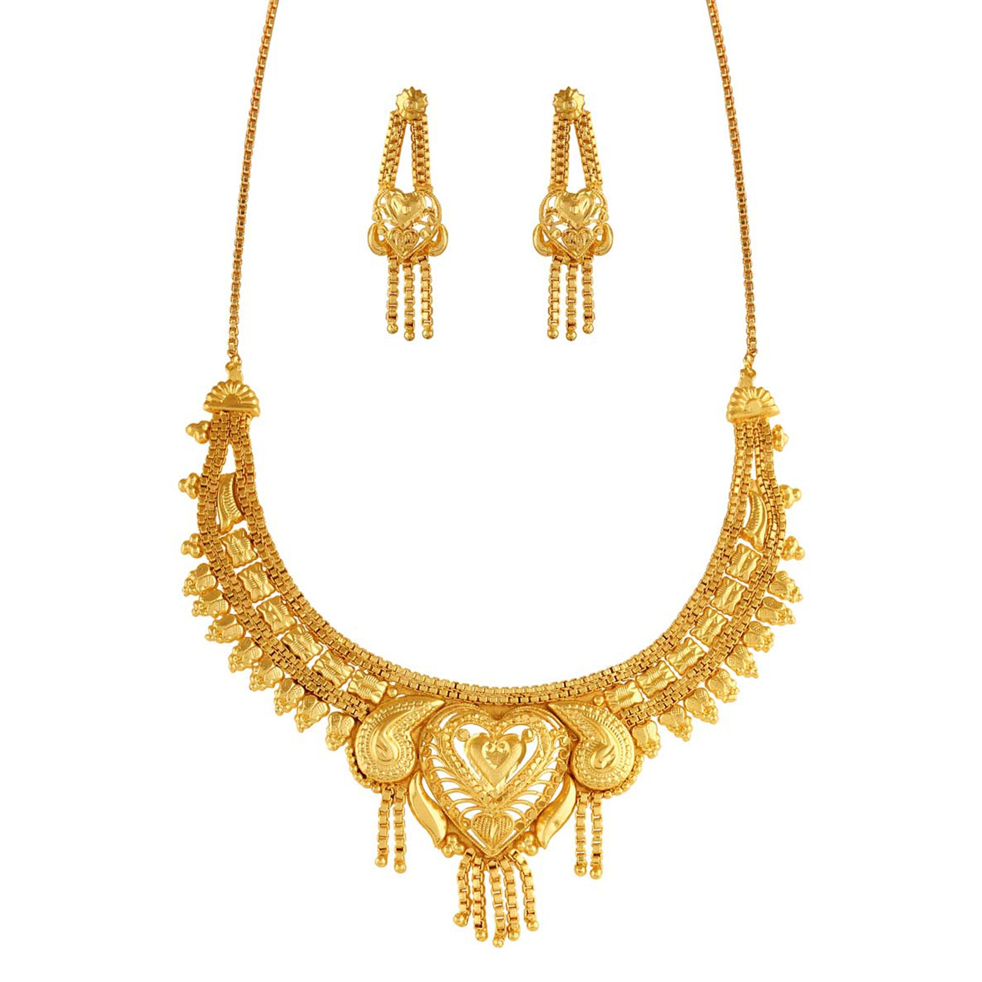 Variation Designer Gold Plated Necklace Set With Earrings - VD17171