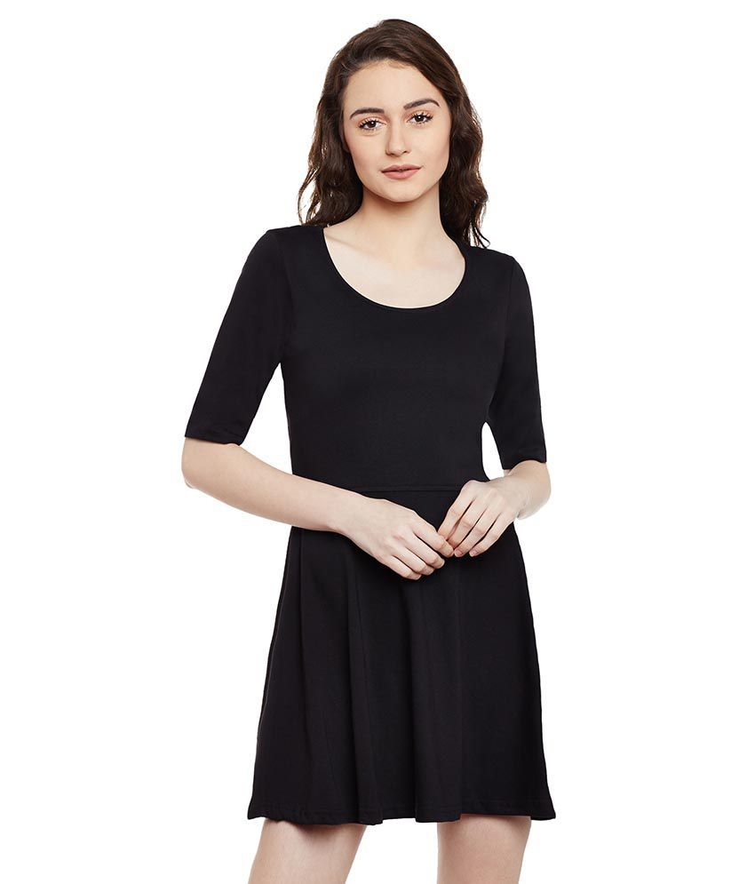 Miss Chase Cotton Black A  line Dress