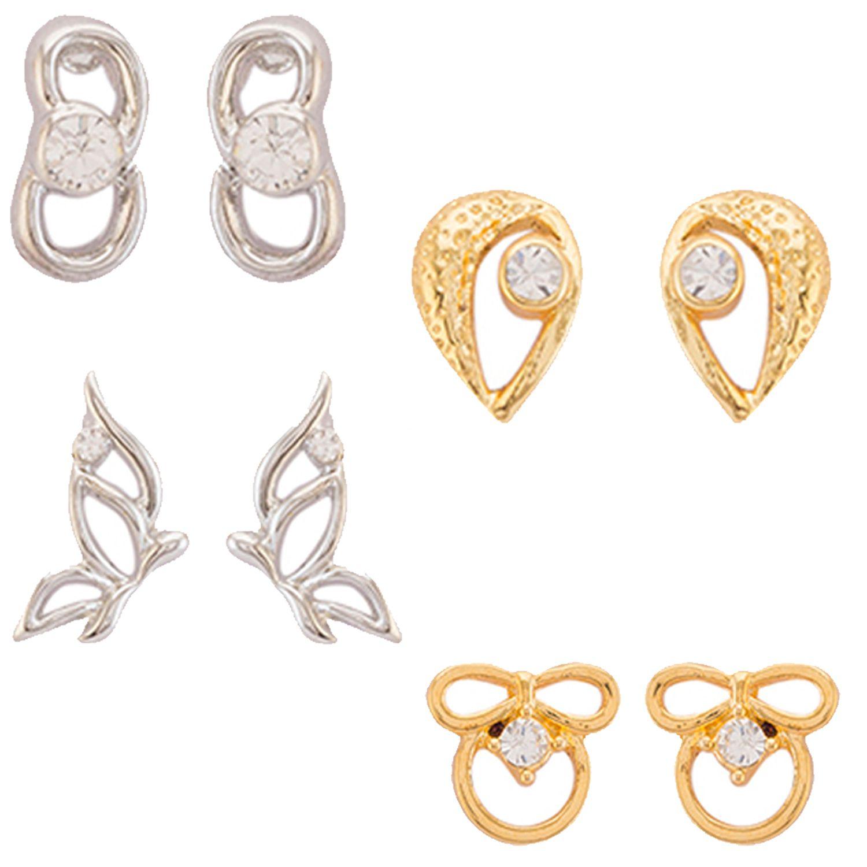 Mahi Combo of Lovely Crystal Stud Earrings for girls and women CO1104737M