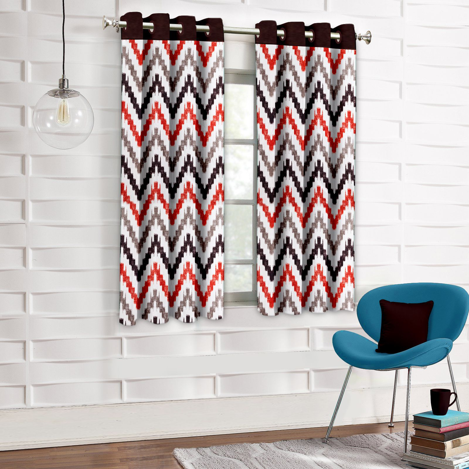 Story@Home Set of 2 Window Eyelet Curtains Geometrical Multi Color