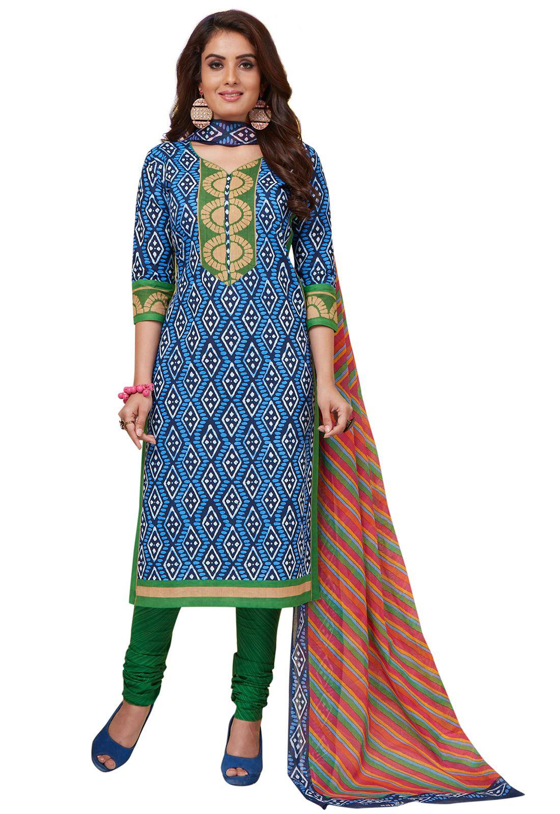 Ishin Blue Cotton Dress Material