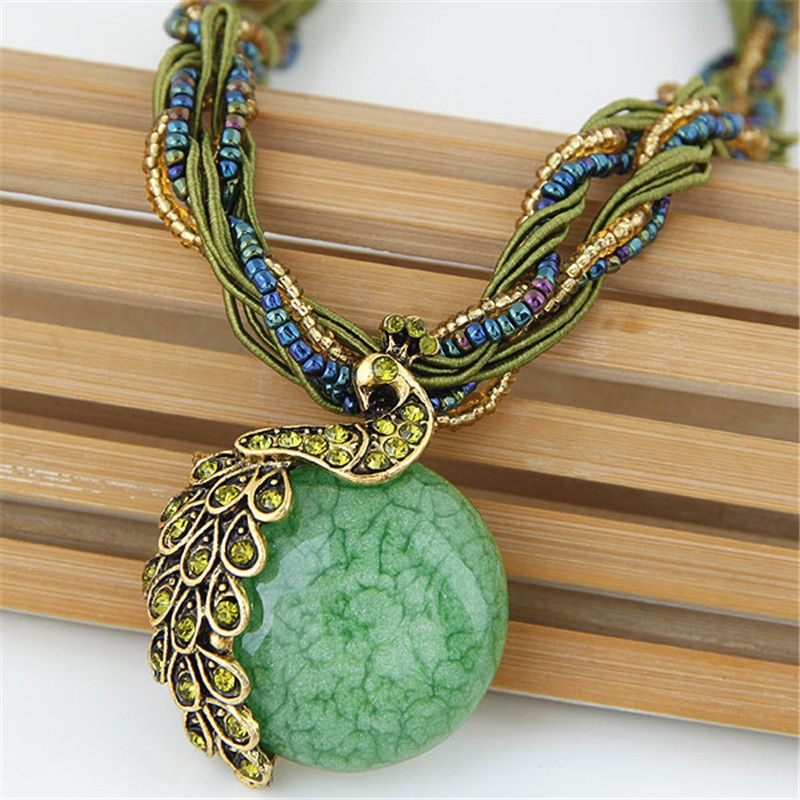 Bohemia Vintage Gem Crystal Bead Chain Handmade Retro Style Peacock Pendant Necklace Women Jewelry Party Gifts