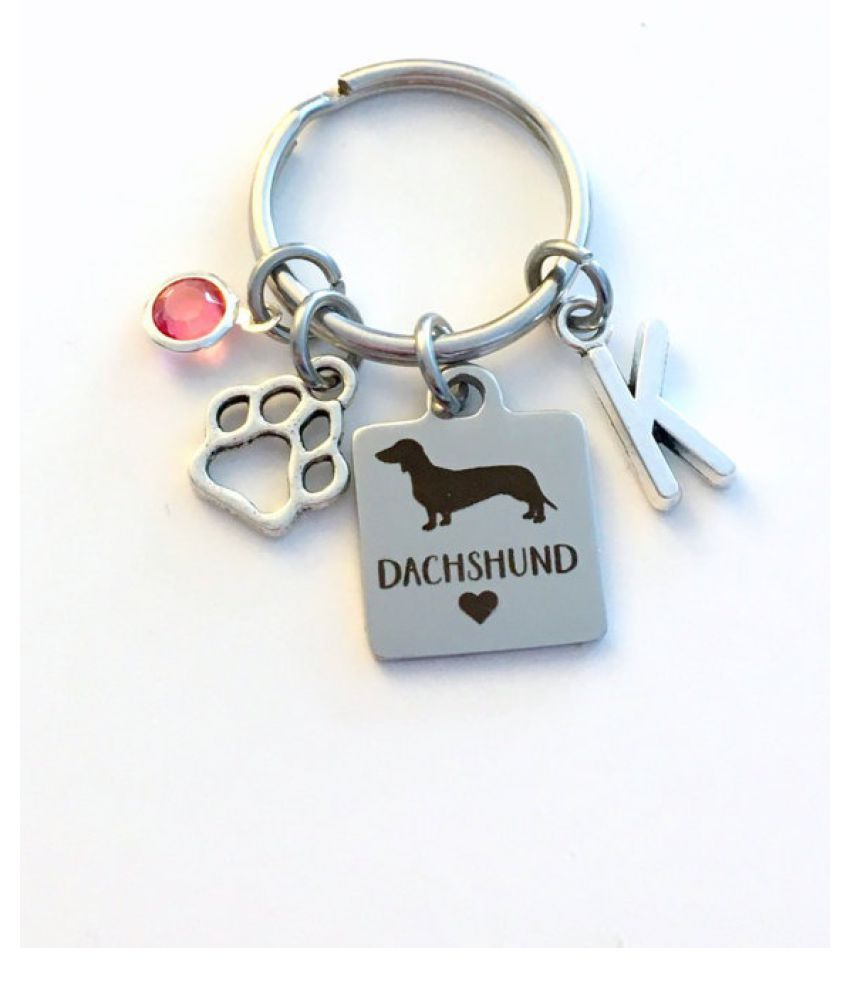 Dachshund KeyChain Breeder Key Chain Gift for Dog Mom Keyring Doggie Puppy Jewelry charm Silver Initial Birthstone present Men women Teen