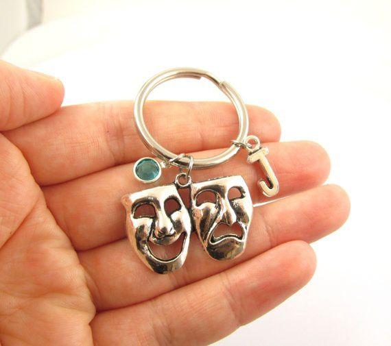 Drama Keychain- choose a birthstone and initial, Drama Keyring, Drama Gift, Drama Masks, Comedy Tragedy Gift, Theater Keychain, Drama Charms