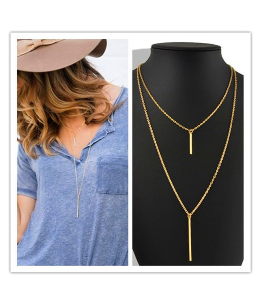 Fashion Womens Bohemian Gold Plated Long Sweater Chain Vertical Bar Pendant Necklace