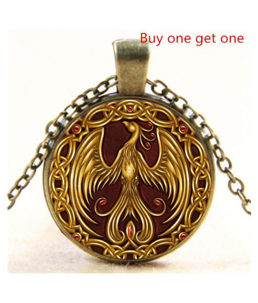 Necklace Gold Phoenix Photo Tibet Silver Cabochon Glass Pendant Chain Necklace