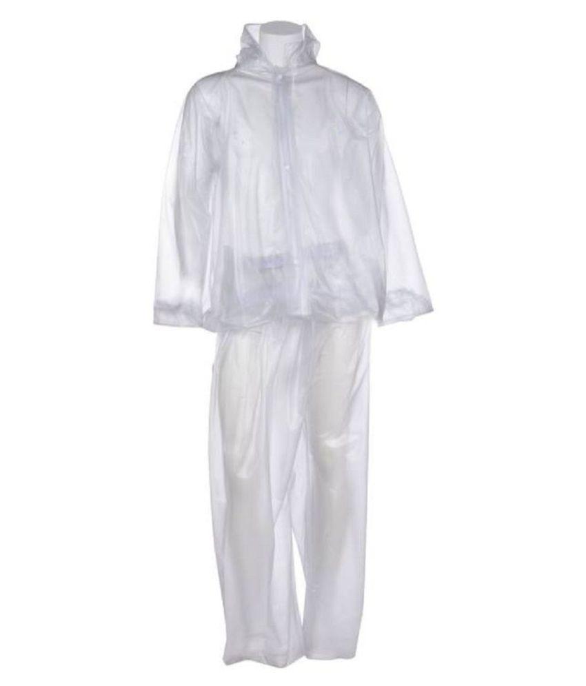 SPZ FASHION Polyester Raincoat Set - White