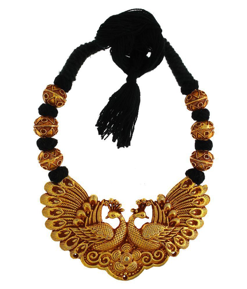 Anuradha Art Black Colour Peacock inspired Designer  Handmade Geru Polish Thread Neckalce For Women/Girls