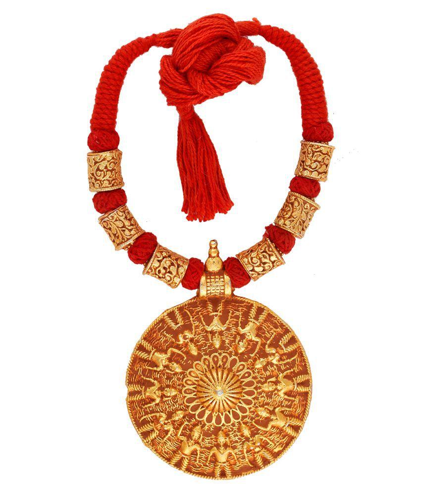 Anuradha Art Orange Colour Round Shape Designer Handmade Geru Polish Thread Neckalce For Women/Girls