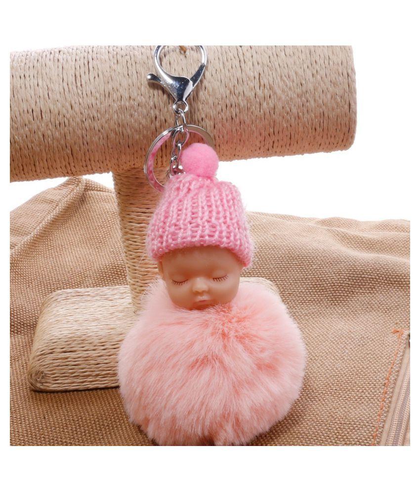 2018 Fashion Cute Little Baby Fur Fluffy Keychains Key Ring Pendant Key Charms Jewelry Fashion Accessories