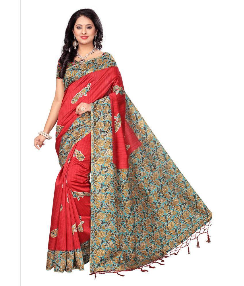 Indian Fashionista Red and Grey Tussar Silk Saree