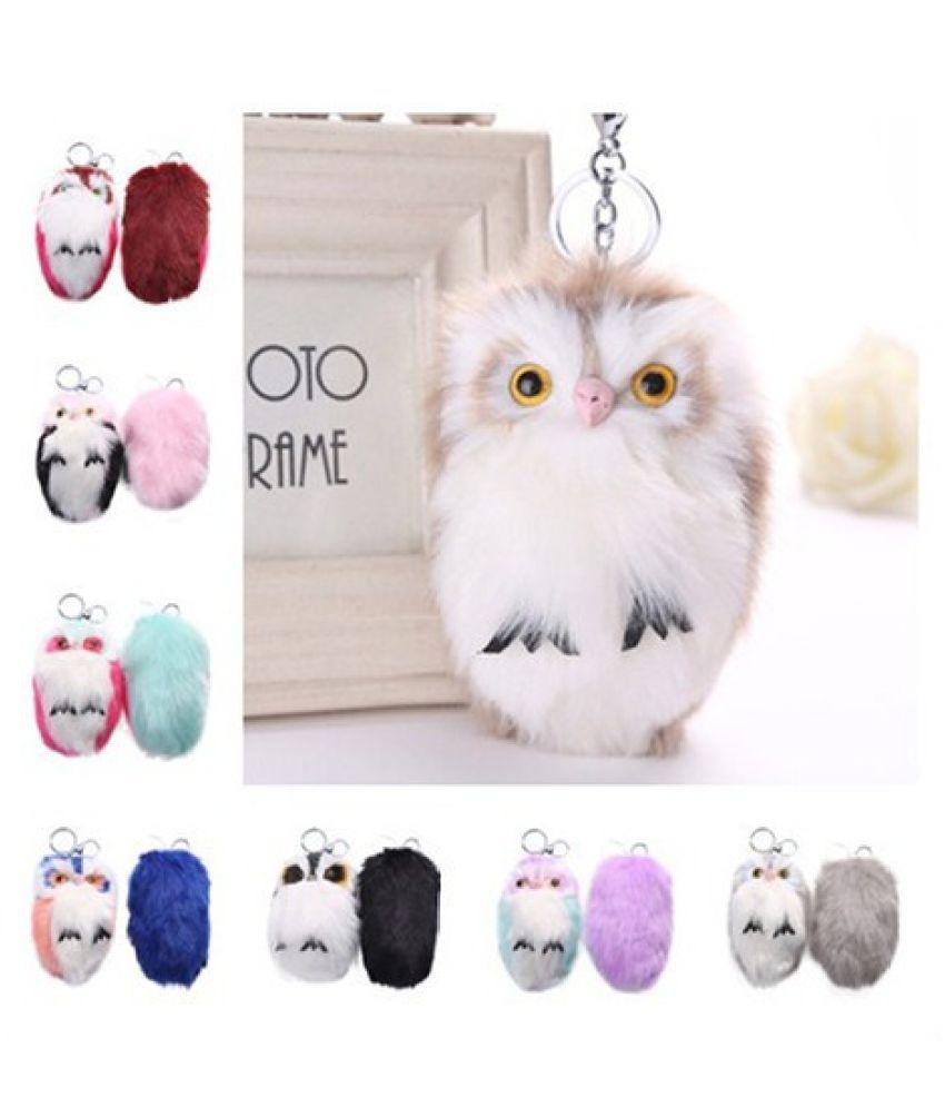 15CM Cute Owl Keychain Pendant Women Key Ring Holder Pompoms Key Chains Lovely