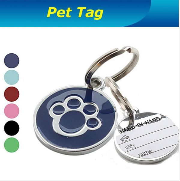 Dog Paw Style Dog Name Dog Necklace Tag Pets Identity Card For Pets Fashion Key Chain