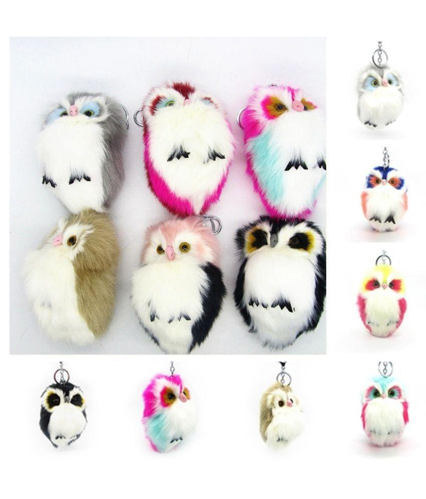 Fluffy Hot sales Owl shape Women Maiden Female Toy Car ornament Bag pendant Keychain Fur decor Key Ring Chain