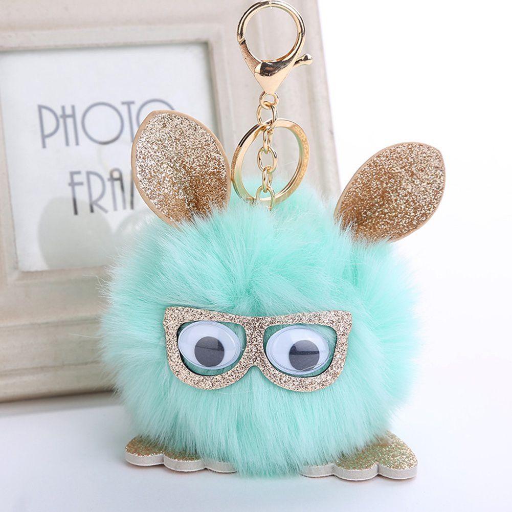 New Decor Accessories Owl Pendant Imitation Fox Fur Ball Key Holder Owl Hair Ball Pendant
