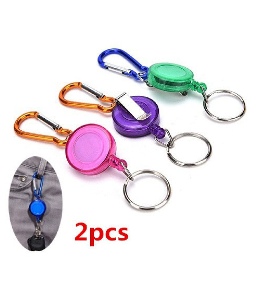 US/UK trendy New Retractable Metal Card Badge Holder Steel Recoil Key Ring Belt Clip Pull Chain