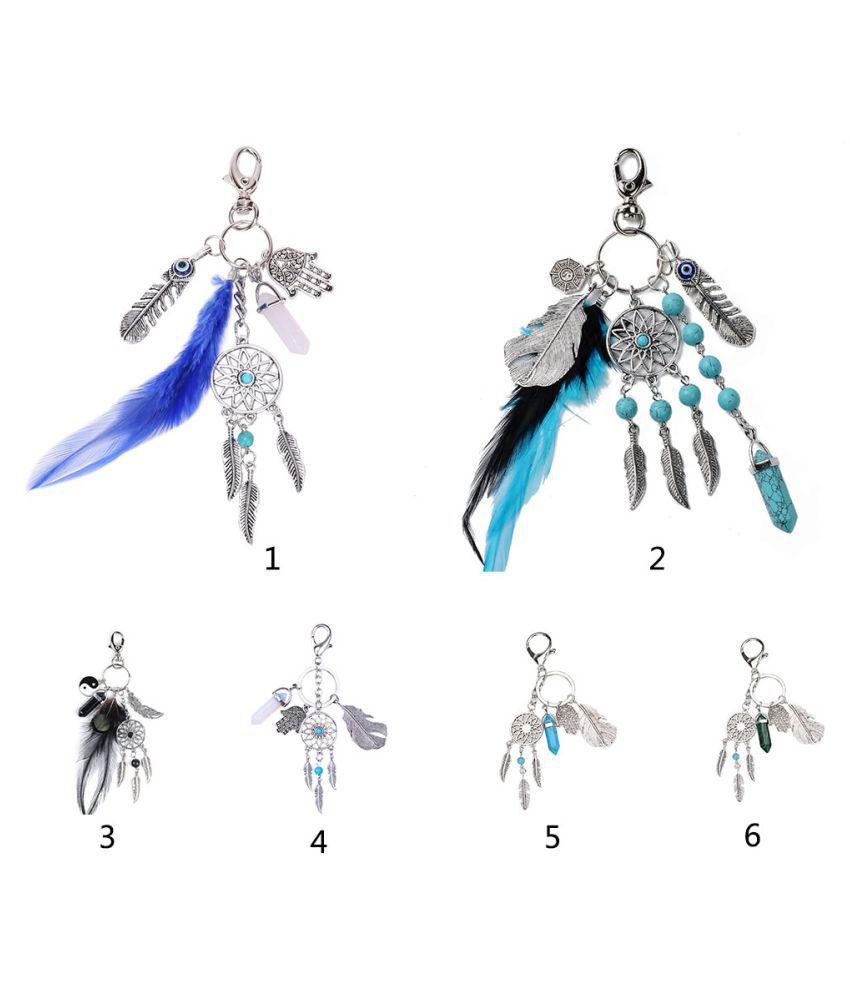 1pc Natural Opal Stone Dreamcatcher Keyring Fashion Agate Car Bag keychain