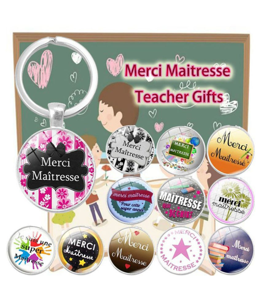 Diy Handmade Glass Cabochon Gift for Teacher Super Maitresse Key Chain Holder Merci Maitresse Key Chains